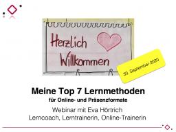 Webinar: Meine Top 7 Lernmethoden für virtuelle Meetings, Onlinekurse und Präsenzformate