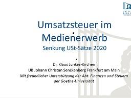 Webinar: Umsatzsteuer im Medienerwerb  Senkung USt-Sätze 2020