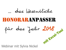 Webinar: Preis- und Honoraranpasser 2017/18   Werkzeug für Selbständige und Freiberufler